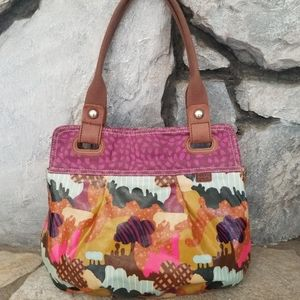 Fossil Keyper Coated Canvas Tote Hand Bag